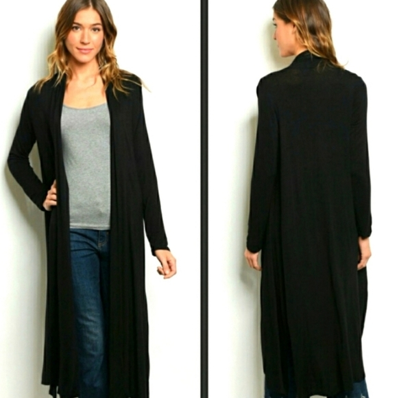 Love In black duster with pockets Medium, Large